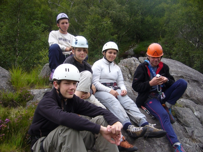 Ready to climb at Polldubh in Glen Nevis.