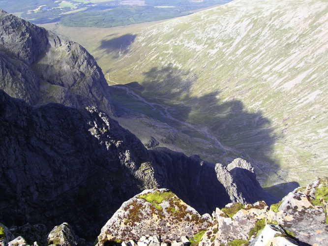 The view back down the way you've just come up. The north face of Ben Nevis.