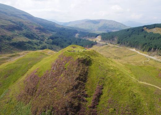 View looking west over Dun Deardail, a vitrified Iron Age fort in Glen Nevis.